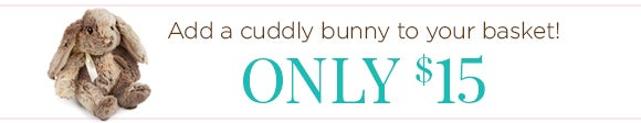 Add a soft and cuddly bunny to your basket! Only $15