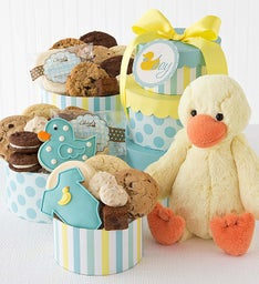 Welcome Bably Boy Gift Tower with Duck